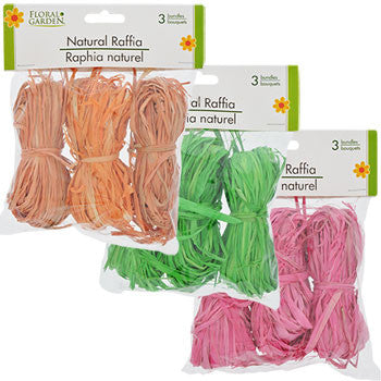 Floral Garden Natural Raffia, 3-Bundle Pack
