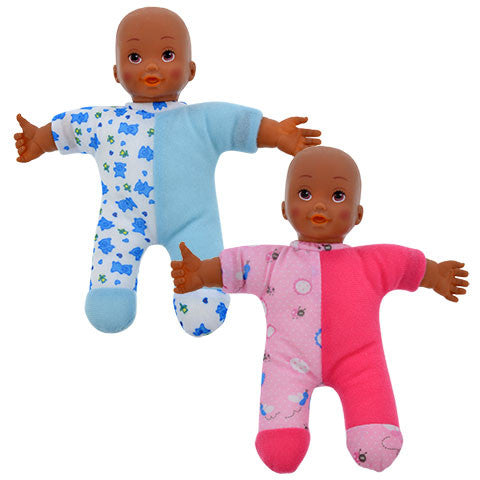 Plush African-American Polyester Baby Doll, 9 in.