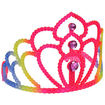 Neon Plastic Princess Tiara with Plastic Gems