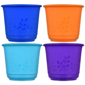 Colorful Embossed Round Plastic Planter, 5.5 in.