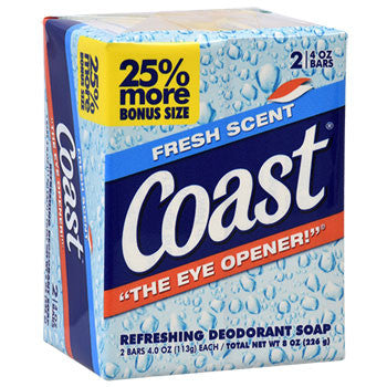 Coast Fresh Scent Soap, 2-Bar Packs