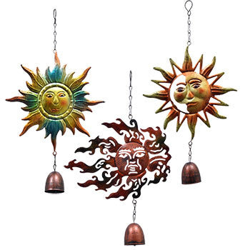 Garden Collection Hanging Metal Sun Decorations with Bells