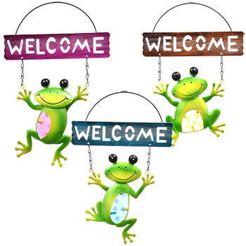 Garden Collection Decorative Metal Frog Welcome Sign