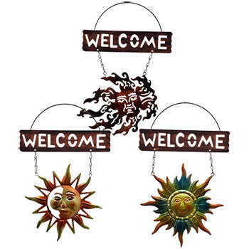 Garden Collection Decorative Sun Face Metal Welcome Signs