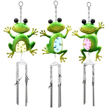 Garden Collection Colorful Metal Frog Wind Chimes