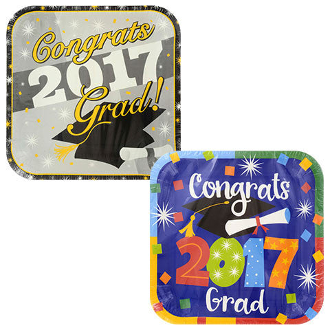 Graduation 2017 Square Paper Plates, 9 in., 14-ct. Pack