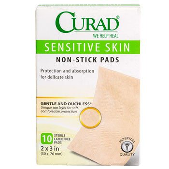 Curad Sensitive Skin Non-Stick Pads, 10-ct. Box