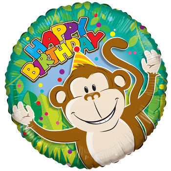 """Happy Birthday"" Monkey Foil Balloon, 18"""