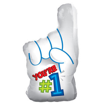 """You're # 1"" Finger Foil Balloon, 18"""