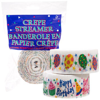Happy Birthday Crepe Paper Streamers, 90 ft. (Set of 2)