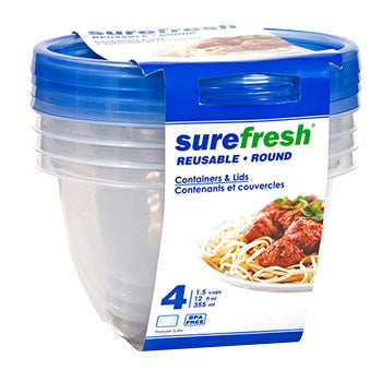 12-oz. Sure Fresh Small Round Plastic Storage Containers, 4-ct. Pack
