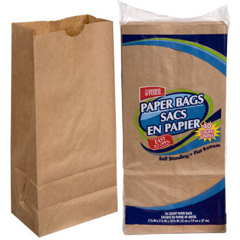 Brown Paper Lunch Bags, 40-ct. Pack