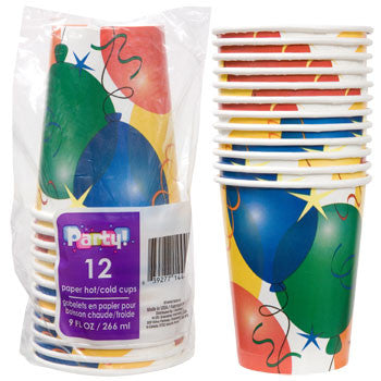 Birthday Balloon Paper Party Cups, 9 oz., 12-ct. Pack