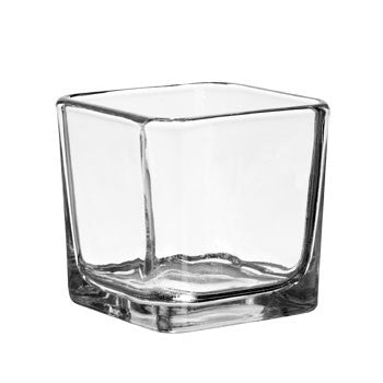 Square Glass Candleholder, 3""