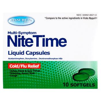 Assured Multi-Symptom NiteTime Liquid Capsules, 10-ct.