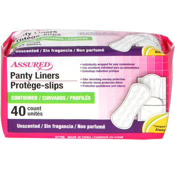 Assured Odor-Absorbing Panty Liners, 40-ct. Pack