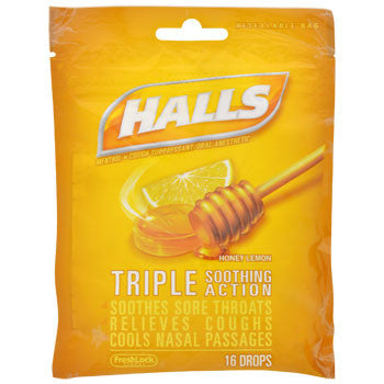 HALLS Honey-Lemon Menthol Cough Drops, 18-ct. Bag