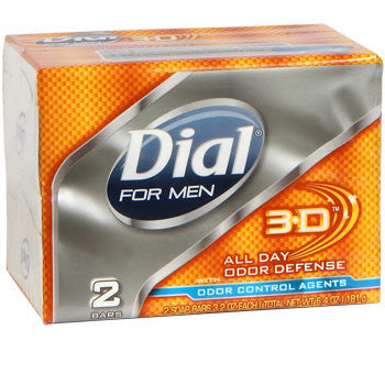 Dial for Men 3-D All Day Odor Defense Soap, 2-Bar Pack
