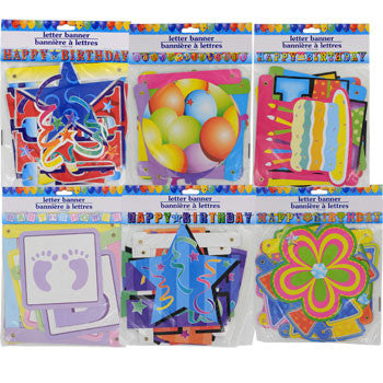 Assorted Birthday and Baby Shower Letter Banner, 7-ft.