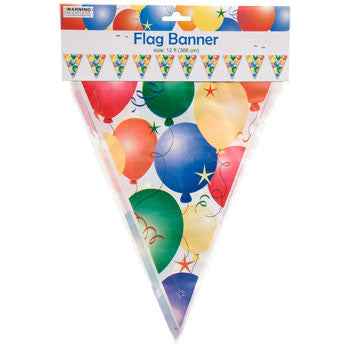 Birthday Balloon Flag Banner, 12 ft.
