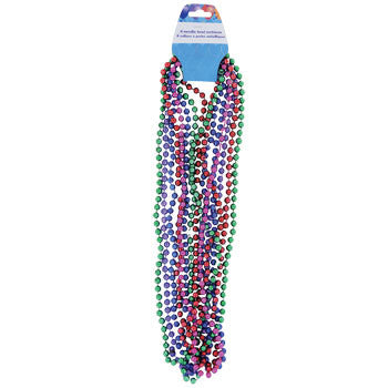 "31"" Colorful Metallic Beaded Party Necklaces, 8-ct. Pack"