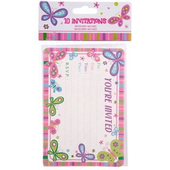 """Happy Birthday"" Butterfly Party Invitations with Envelopes, 10-ct. Pack"