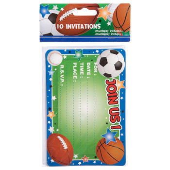 All-Sports Party Invitations with Envelopes, 10-ct. Pack