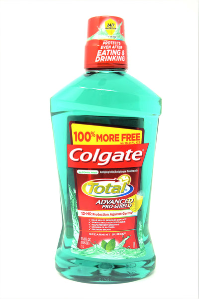 Colgate Total Spearmint Surge Advanced Pro Shield Alcohol Free Mouthwash, 33.8 oz.