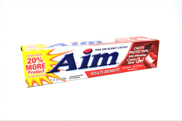 Aim Cinna Mint Gel Toothpaste Multi Benefit Cavity Protection With Whitening, 5.5 oz.