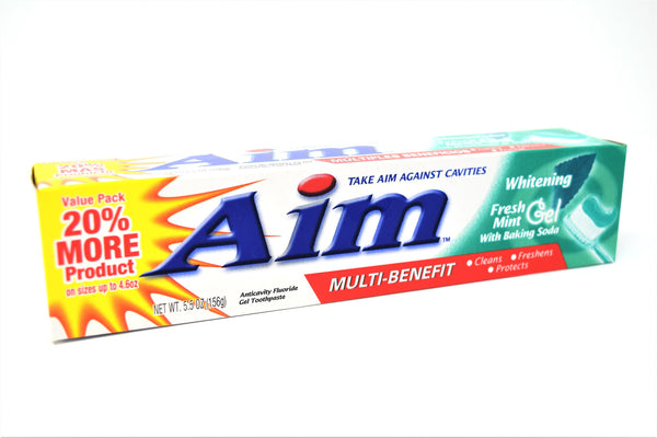 Aim Fresh Mint Whitening Gel Toothpaste With Baking Soda, 5.5 oz.
