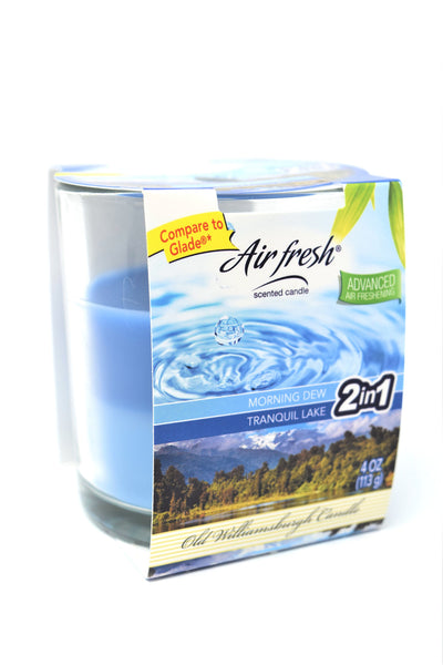 Air Fresh 2-in-1 Scented Candle Morning Dew & Tranquil Lake, 4 oz.
