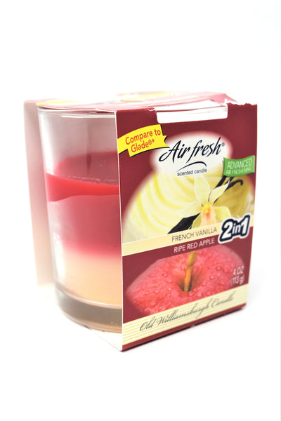 Air Fresh Scented Candle 2-in-1 French Vanilla & Ripe Red Apple, 4 oz.