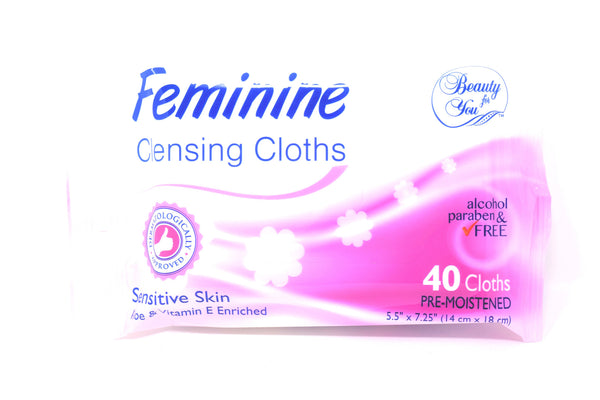 Beauty For You Feminine Cleansing Cloths Sensitive Skin, 40 ct.