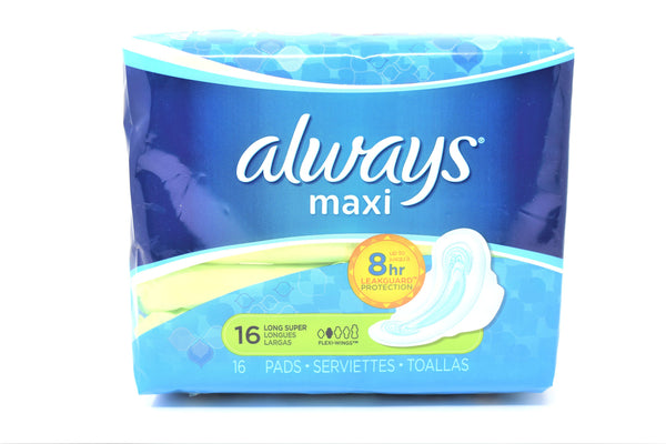 Always Long Super Maxi Pads With Wings, 16 ct.
