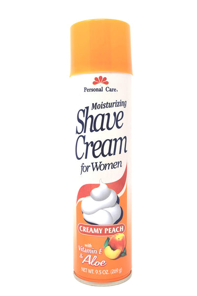 Personal Care Moisturizing Shaving Cream For Women Creamy Peach with Vitamin E & Aloe, 9.5 oz.