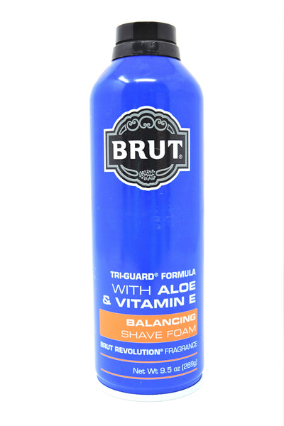 Brut Shave Foam with Aloe & Vitamin E, 9.5 oz.
