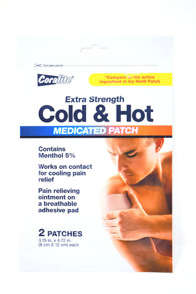 Coralite Extra Strength Cold & Hot Medicated Patches, 2 ct.