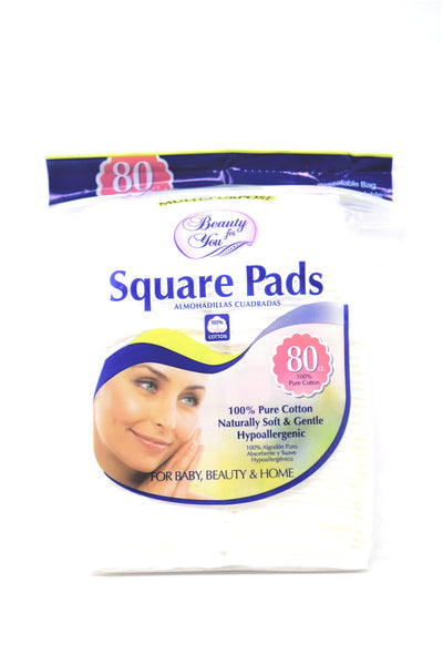 Beauty For You Square Cotton Pads, 80 Ct.