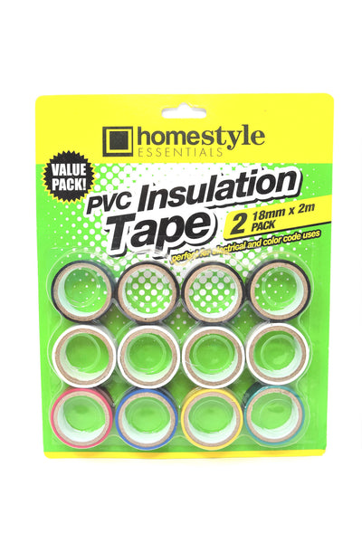 Homestyle Essentials PVC Insulation Tape Multi-Color, 12 Pack