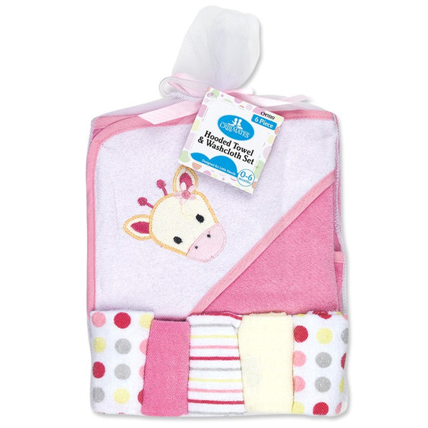 Crib Mates Hooded Towel With 5-Washcloths Set (6-Piece Set)