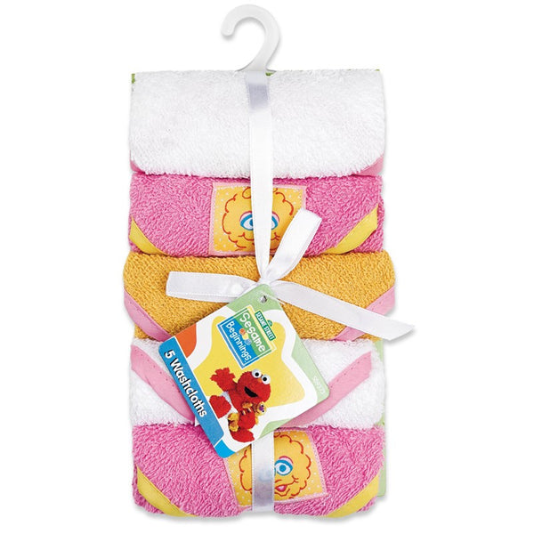 Sesame Street 5pk Terry Washcloths