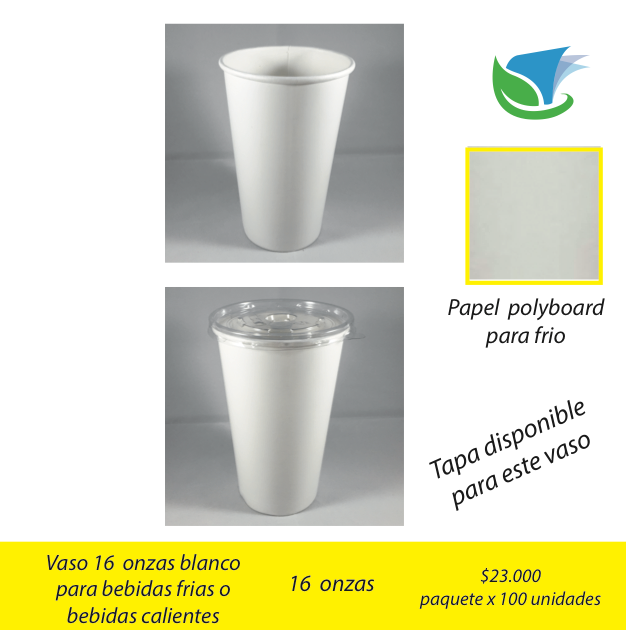 Vaso 16 Oz. blanco frias y calientes x 100