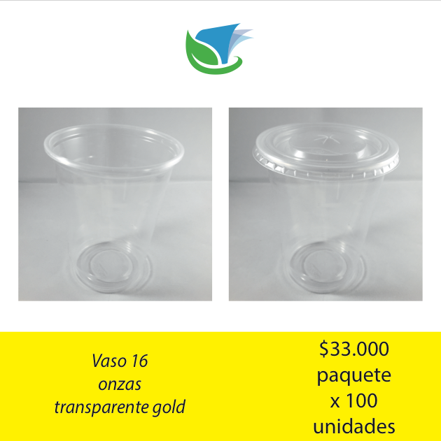 Vaso 16 Oz. transparente gold x 100