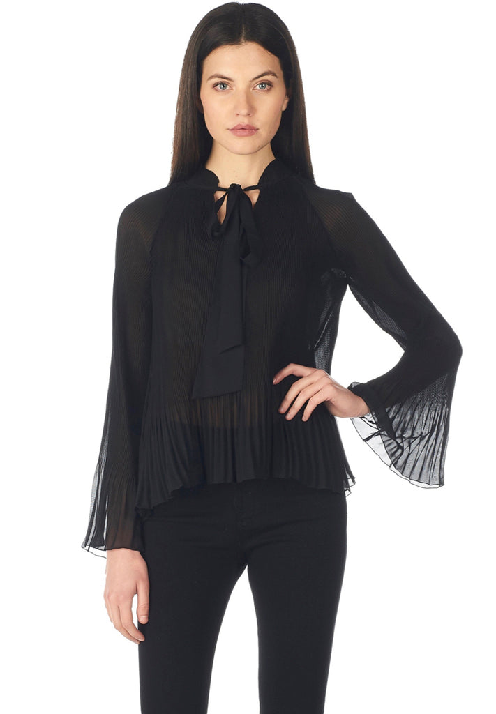 Scarf Neck Pleated Blouse