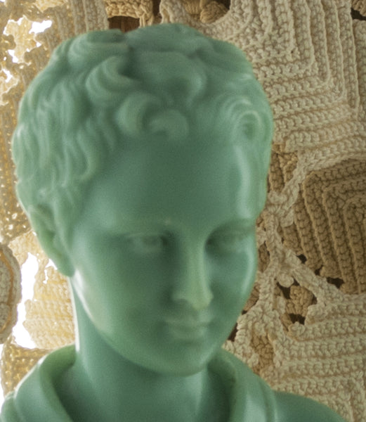 A Giannelli Green Alabaster Busts Vintage Italian Boy and Girl Head Sculptures Marble Base