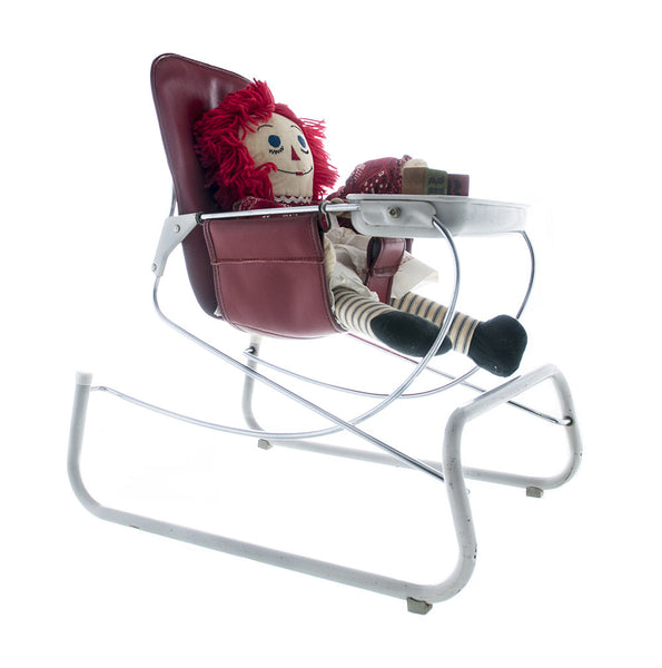 Vintage Baby Bouncer Chair, Cosco Baby Gear, Atomic Red Leather and Chrome Baby Chair