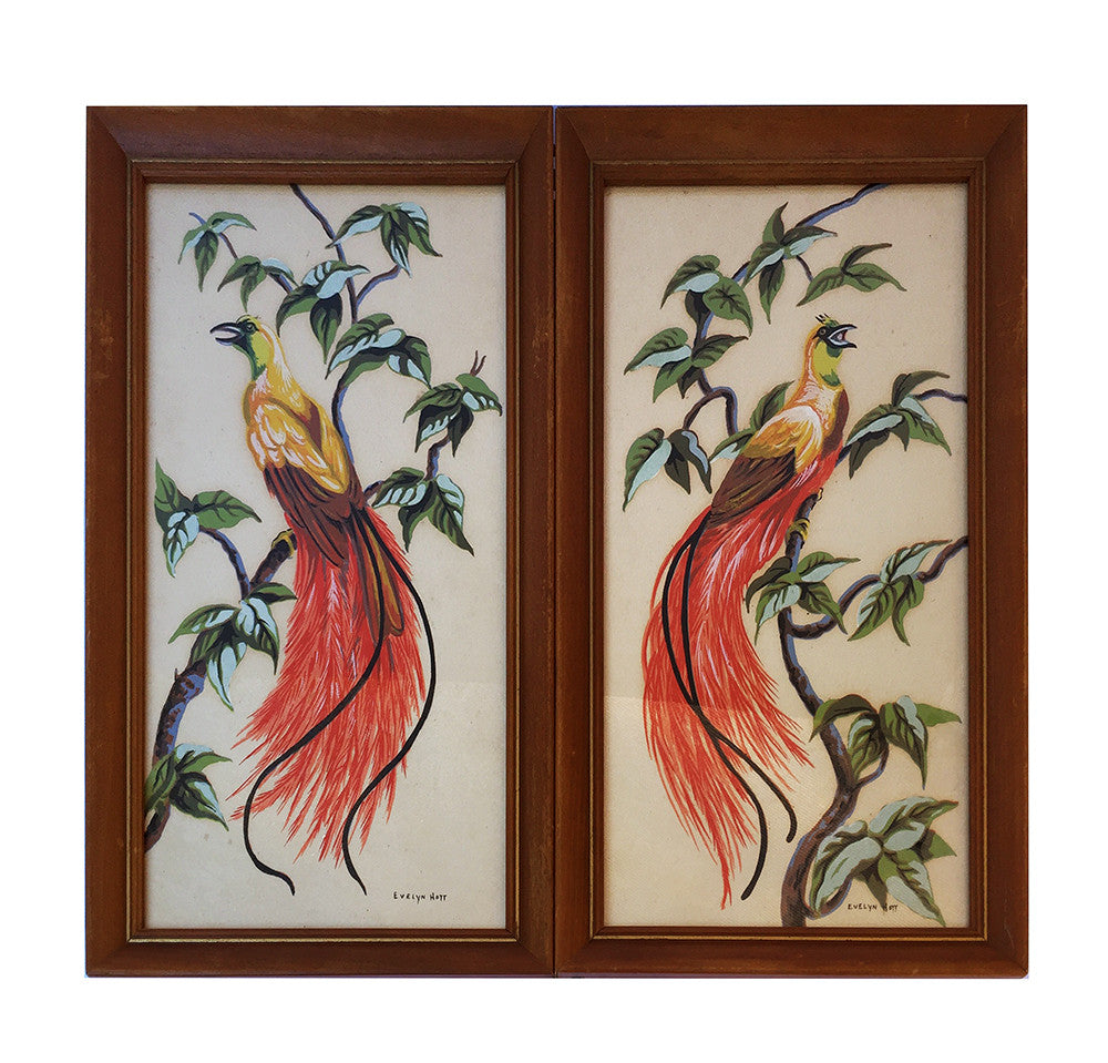 Bird of Paradise Art Prints by Evelyn Hott in Vintage Wood Frames Shabby Cottage Mid Century Decor