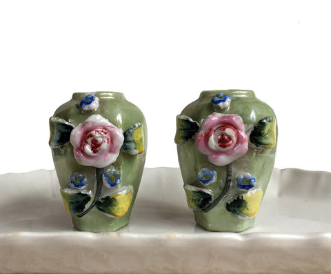 Miniature Vases Made in Japan Green Lustreware with Capodimonte Flowers Occupied Japan