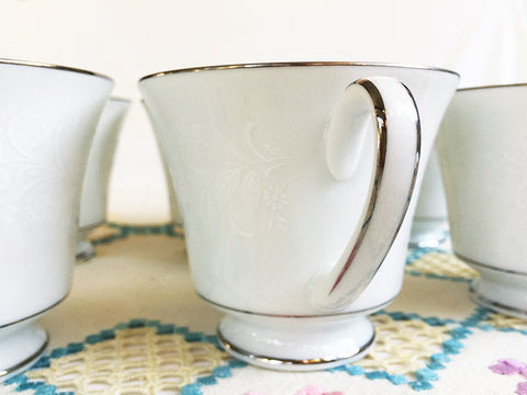 "Noritake ""Ranier"" 6909 Footed Cups, White Floral on White with Platinum Trim, Replacement China,"