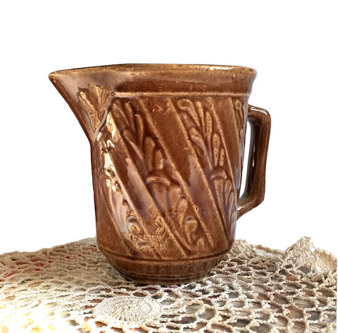 Brown Stoneware Pitcher USA Vintage Pottery Batter Milk Jug Rustic Farmhouse Decor Country Living